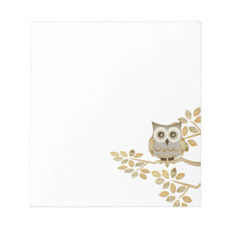Wide Eyes Owl in Tree Notepad