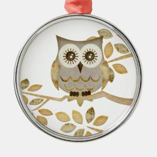 Wide Eyes Owl in Tree Ornament