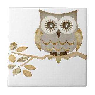 Wide Eyes Owl in Tree Tile