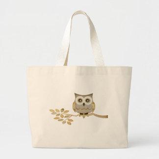 Wide Eyes Owl in Tree Tote Bags