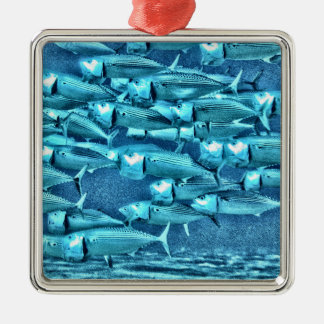Wide Mouth Mackeral Silver-Colored Square Decoration