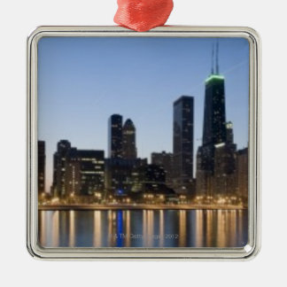 Wide panoramic view of the Chicago lakefront at Silver-Colored Square Decoration