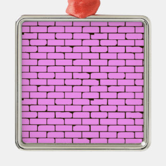 Wide Pink Wall Background Silver-Colored Square Decoration