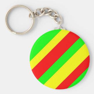 Wide Rasta Stripes Basic Round Button Key Ring
