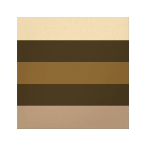 Wide Retro Colour Horizontal Stripes Cream/Browns Stretched Canvas Prints
