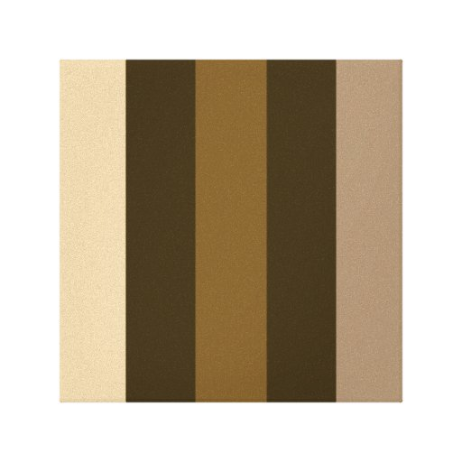 Wide Retro Colour Vertical Stripes Cream/Browns Stretched Canvas Prints