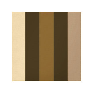 Wide Retro Colour Vertical Stripes Cream/Browns Canvas Print