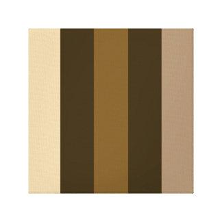 Wide Retro Colour Vertical Stripes Cream/Browns Stretched Canvas Prints