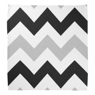 Wide Retro Zigzag Pattern Black Grey White Bandana