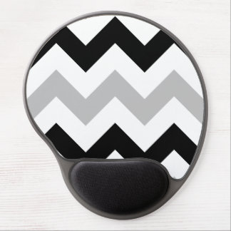 Wide Retro Zigzag Pattern Black Grey White Gel Mouse Mat