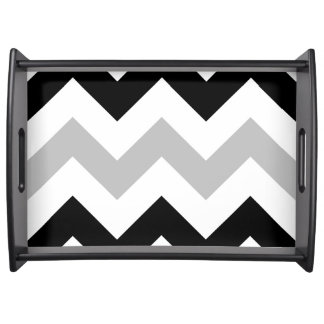 Wide Retro Zigzag Pattern Black Grey White Serving Tray