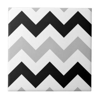 Wide Retro Zigzag Pattern Black Grey White Small Square Tile