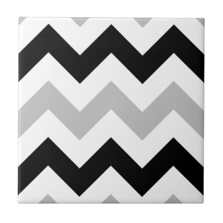 Wide Retro Zigzag Pattern Black Grey White Tile
