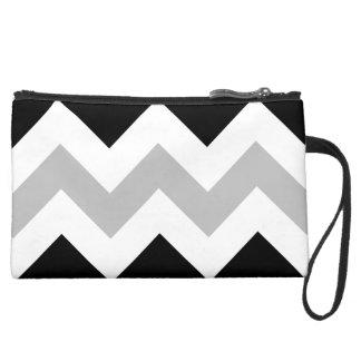 Wide Retro Zigzag Pattern Black Grey White Wristlet Purses