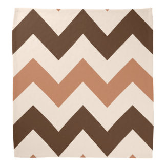 Wide Retro Zigzag Pattern Cream Rust & Brown Bandana