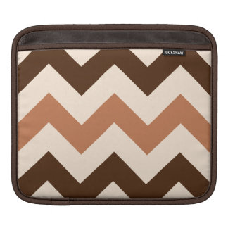 Wide Retro Zigzag Pattern Cream Rust & Brown iPad Sleeve