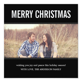 Wide Screen Black Christmas Photo Flat Cards 13 Cm X 13 Cm Square Invitation Card