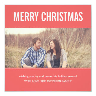 Wide Screen Coral Christmas Photo Flat Cards 13 Cm X 13 Cm Square Invitation Card
