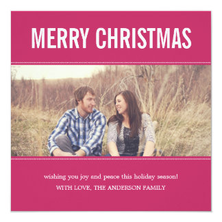 Wide Screen Pink Christmas Photo Flat Cards 13 Cm X 13 Cm Square Invitation Card