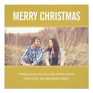 Wide Screen Yellow Christmas Photo Flat Cards 13 Cm X 13 Cm Square Invitation Card