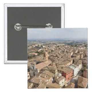Wide shot of the hill town of Siena, Italy, 15 Cm Square Badge