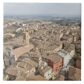 Wide shot of the hill town of Siena, Italy, Tile