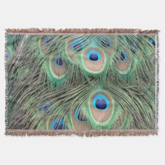 Wide Spreed Of Peacock Eyes Throw Blanket