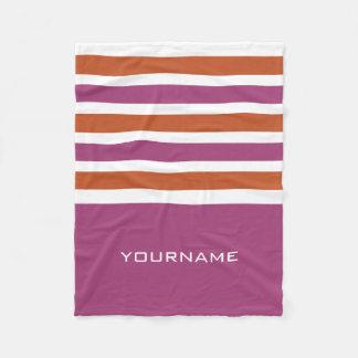Wide Stripes custom monogram fleece blanket