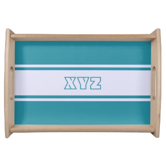 Wide Stripes custom monogram serving tray