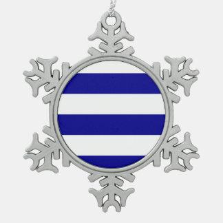 Wide Stripes - White and Dark Blue Ornament