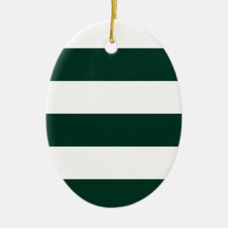 Wide Stripes - White and Dark Green Ceramic Oval Decoration