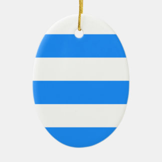 Wide Stripes - White and Dodger Blue Christmas Tree Ornaments