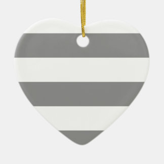 Wide Stripes - White and Gray Christmas Ornaments
