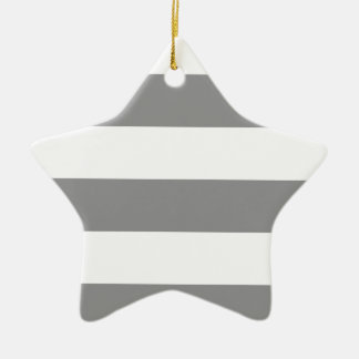 Wide Stripes - White and Gray Christmas Ornament