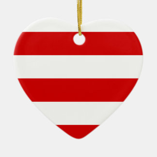 Wide Stripes - White and Rosso Corsa Christmas Ornament