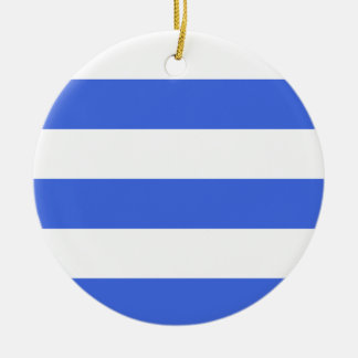 Wide Stripes - White and Royal Blue Christmas Tree Ornament