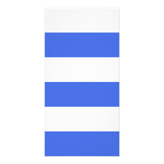 Wide Stripes - White and Royal Blue Photo Card Template