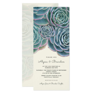 Wide Succulent Border Tall Wedding Invitation
