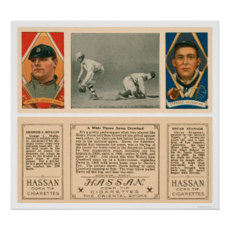 Wide Throw At First Tigers Baseball 1912 Poster