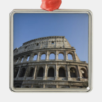 Wide view looking up at the Roman Colosseum with Christmas Ornament
