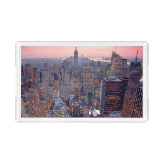 Wide view of Manhattan at sunset