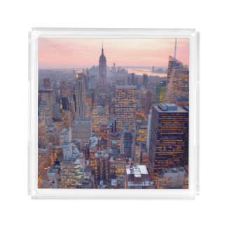 Wide view of Manhattan at sunset Acrylic Tray
