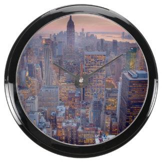 Wide view of Manhattan at sunset Aquavista Clocks