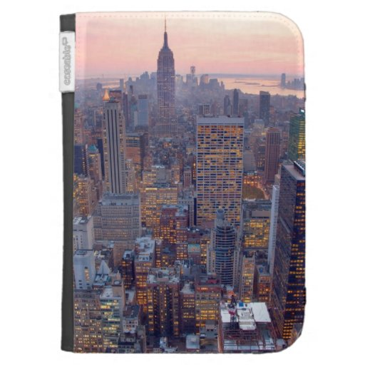 Wide view of Manhattan at sunset Kindle 3G Covers