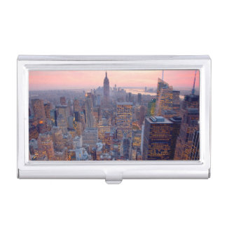 Wide view of Manhattan at sunset Case For Business Cards