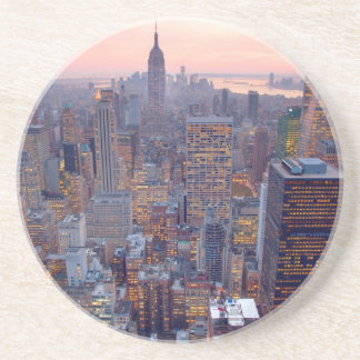 Wide view of Manhattan at sunset Drink Coasters