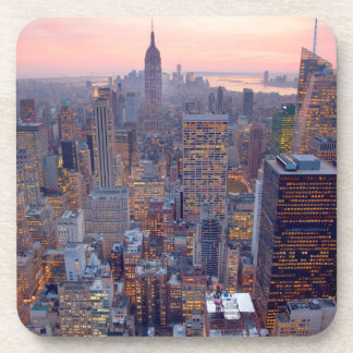 Wide view of Manhattan at sunset Beverage Coasters