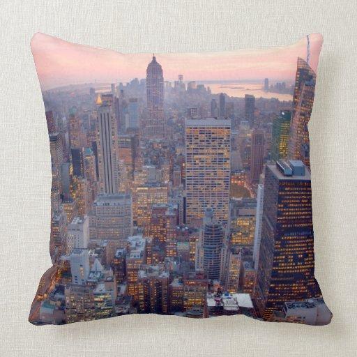 Wide view of Manhattan at sunset Pillow