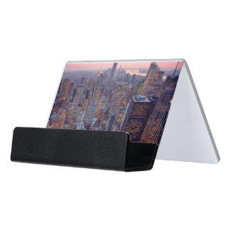 Wide view of Manhattan at sunset Desk Business Card Holder