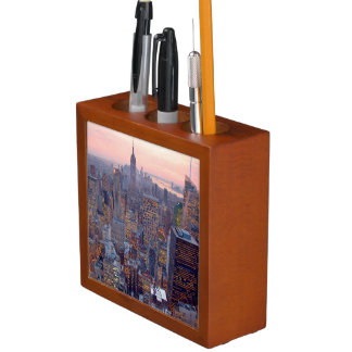 Wide view of Manhattan at sunset Desk Organiser